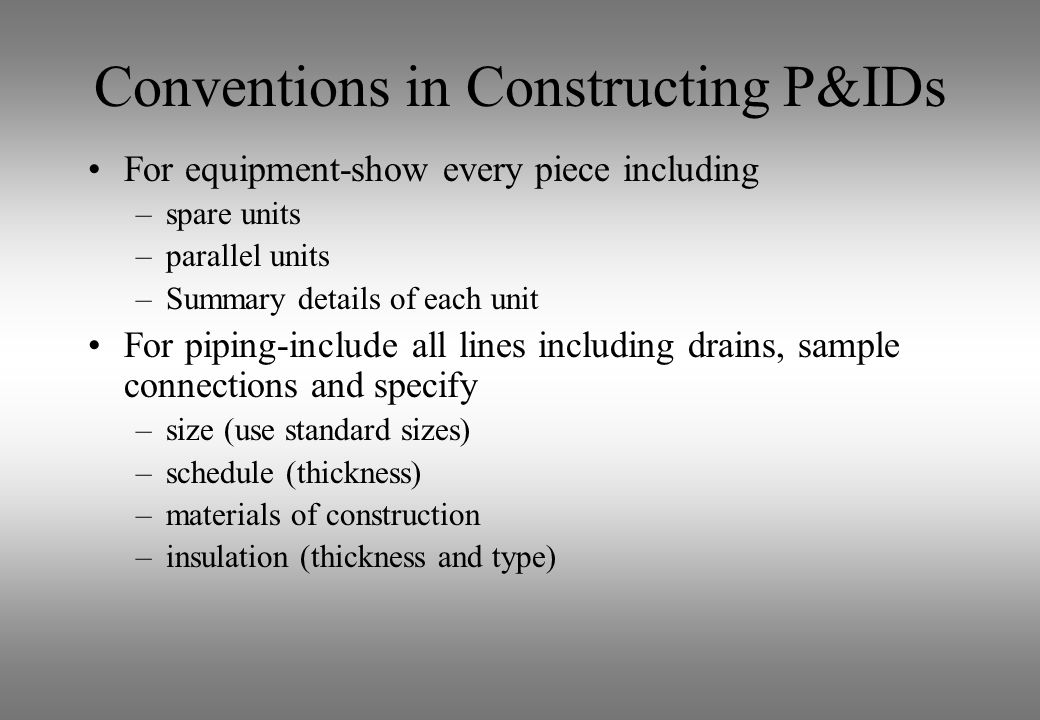 Conventions in Constructing P&IDs