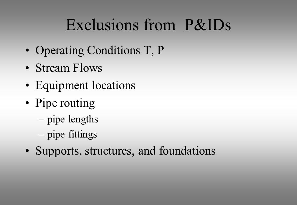 Exclusions from P&IDs Operating Conditions T, P Stream Flows