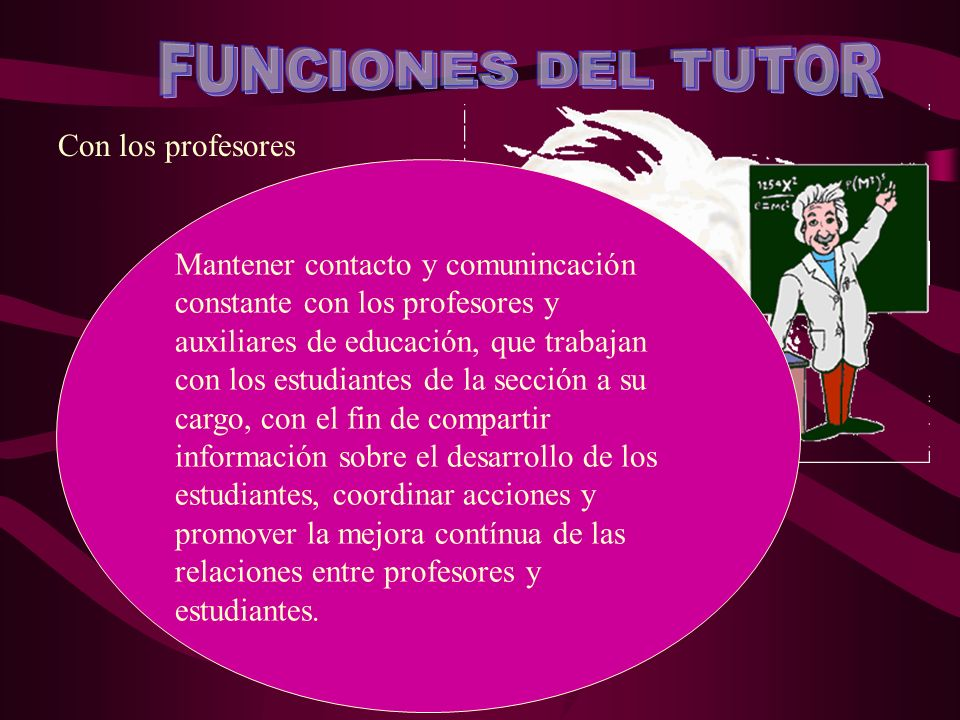 FUNCIONES DEL TUTOR Con los profesores