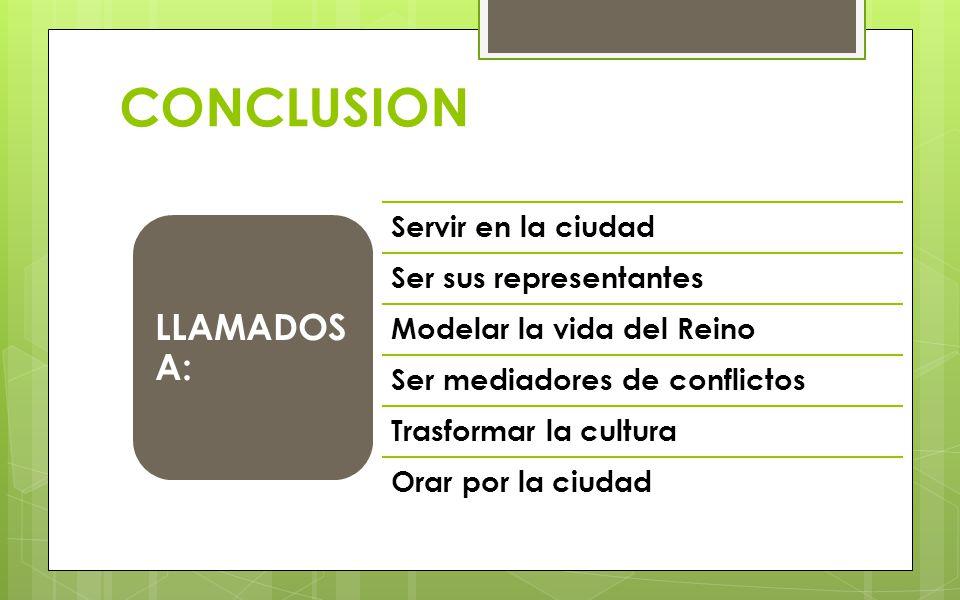 CONCLUSION LLAMADOS A: Servir en la ciudad Ser sus representantes