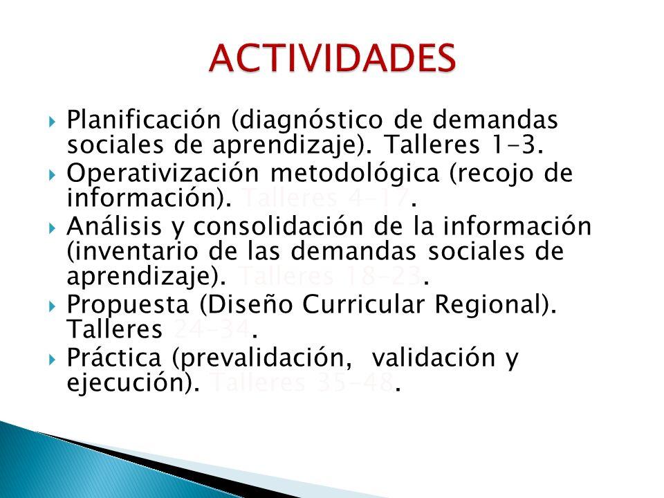 ACTIVIDADESPlanificación (diagnóstico de demandas sociales de aprendizaje). Talleres 1-3.
