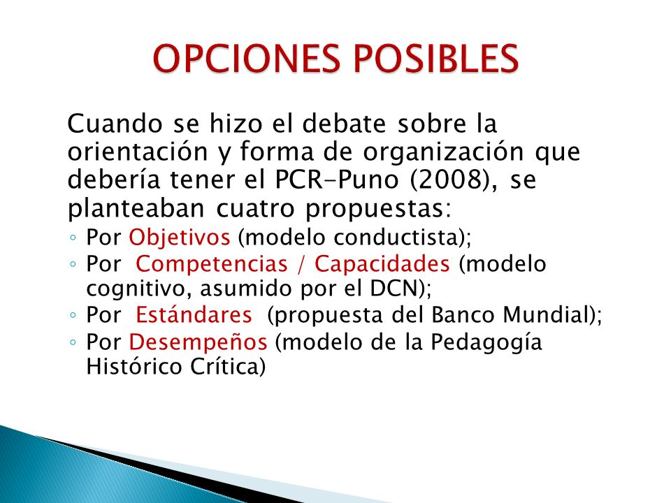 OPCIONES POSIBLES