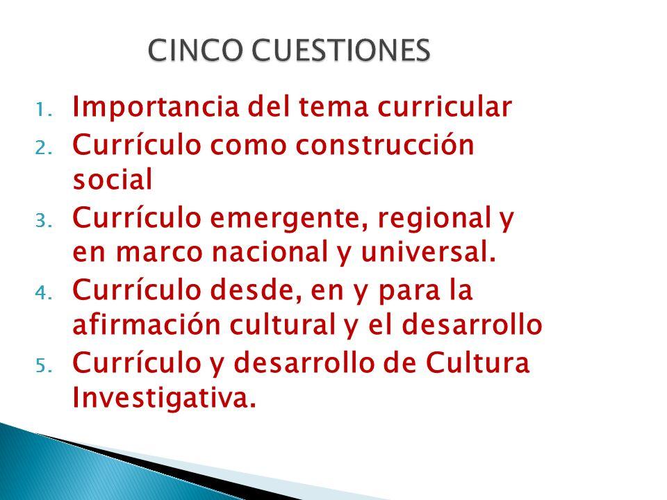CINCO CUESTIONES Importancia del tema curricular