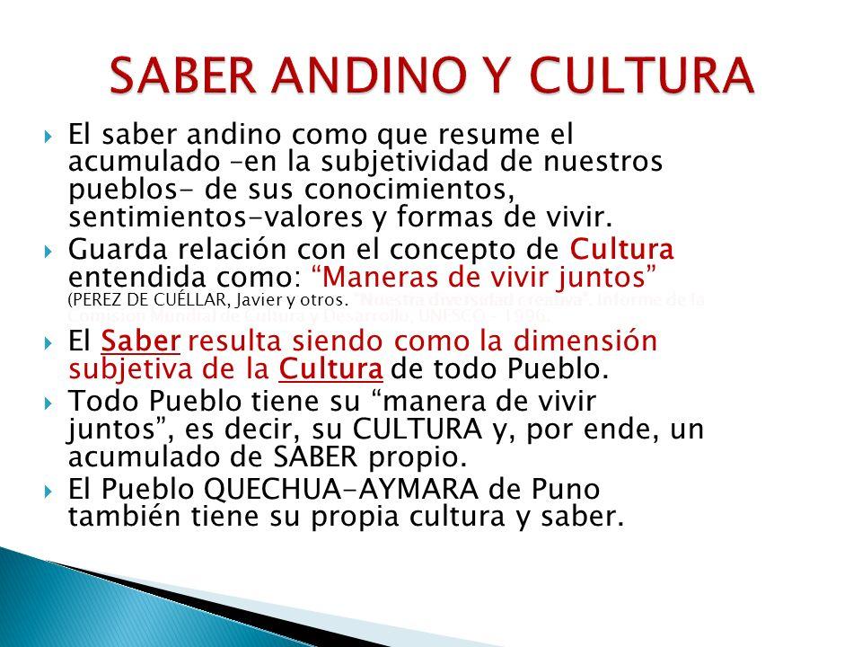SABER ANDINO Y CULTURA