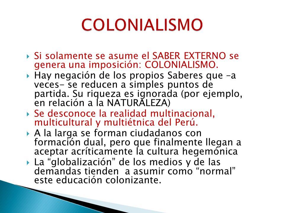 COLONIALISMO Si solamente se asume el SABER EXTERNO se genera una imposición: COLONIALISMO.