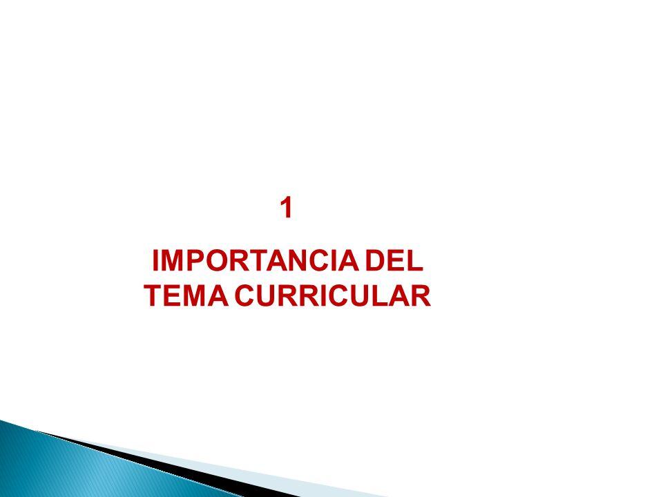 IMPORTANCIA DEL TEMA CURRICULAR
