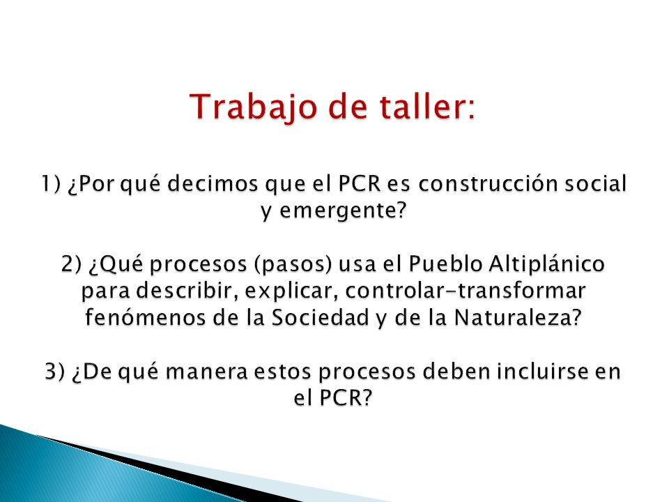Trabajo de taller: 1) ¿Por qué decimos que el PCR es construcción social y emergente.