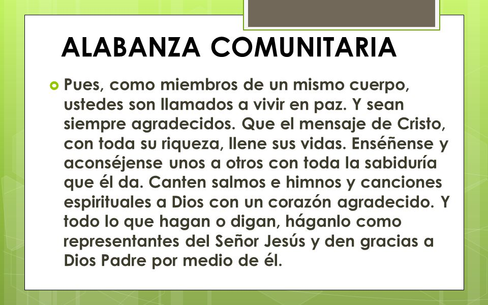 ALABANZA COMUNITARIA