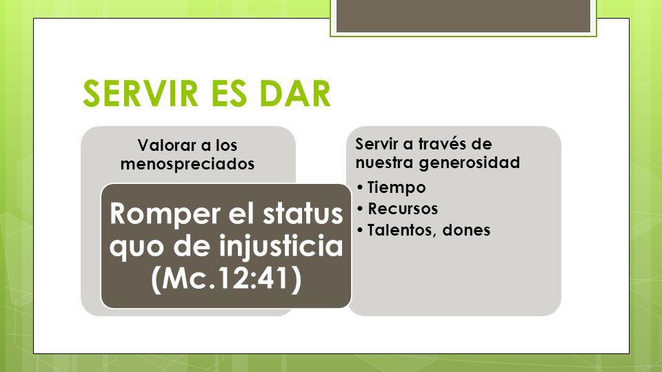 SERVIR ES DAR Romper el status quo de injusticia (Mc.12:41)