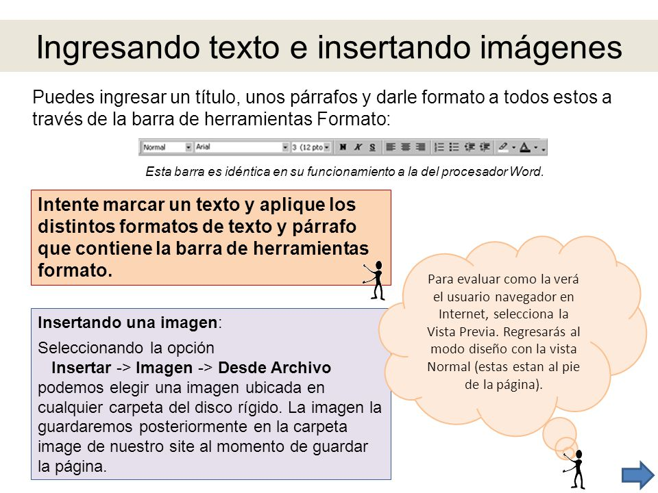 Ingresando texto e insertando imágenes