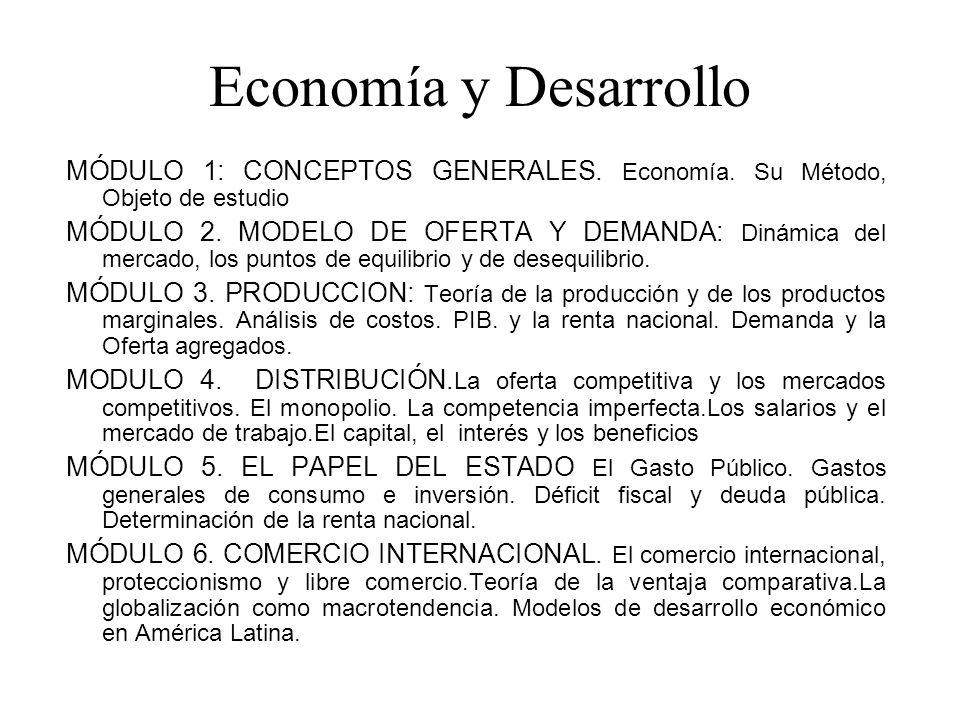Economía y Desarrollo MÓDULO 1: CONCEPTOS GENERALES. Economía. Su Método, Objeto de estudio
