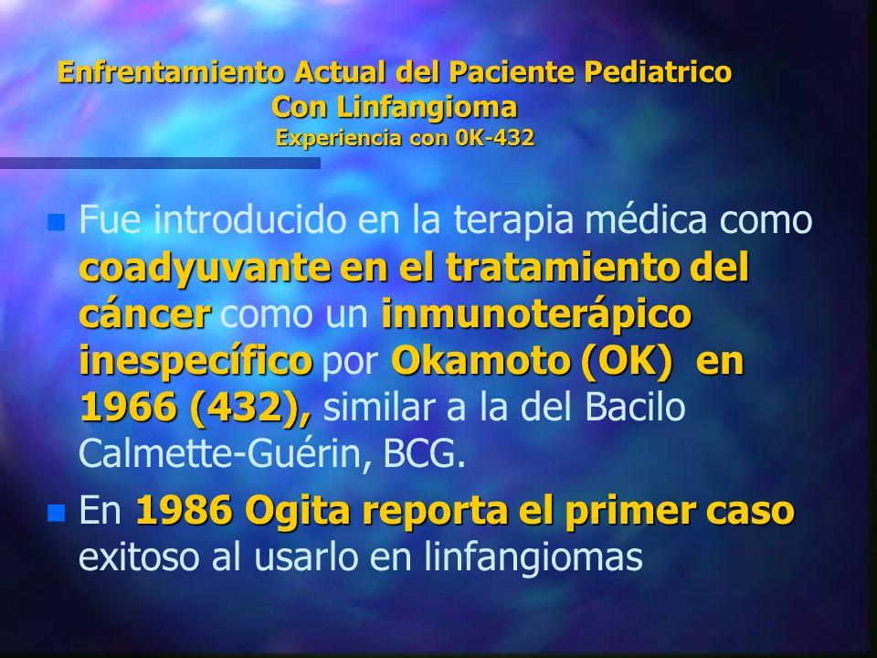 En 1986 Ogita reporta el primer caso exitoso al usarlo en linfangiomas