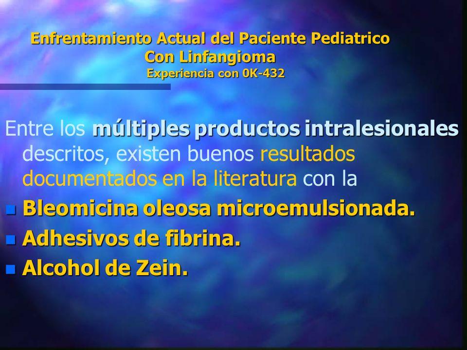 Bleomicina oleosa microemulsionada. Adhesivos de fibrina.