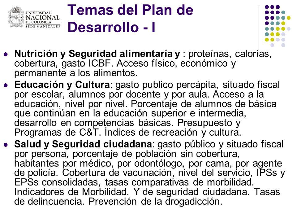 Temas del Plan de Desarrollo - I