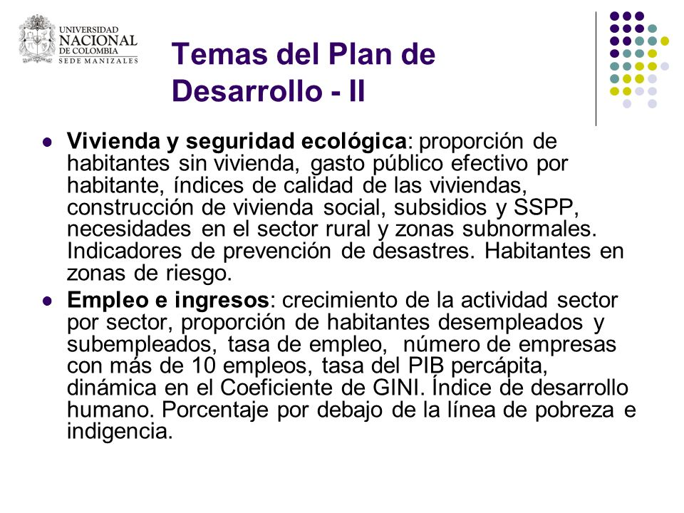 Temas del Plan de Desarrollo - II