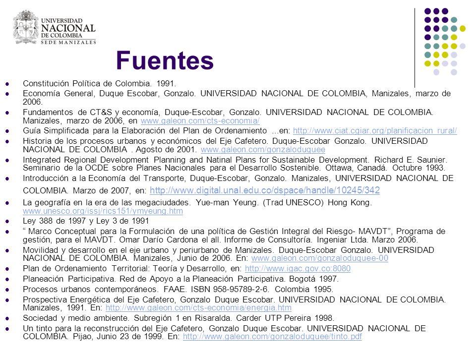 Fuentes Constitución Política de Colombia. 1991.