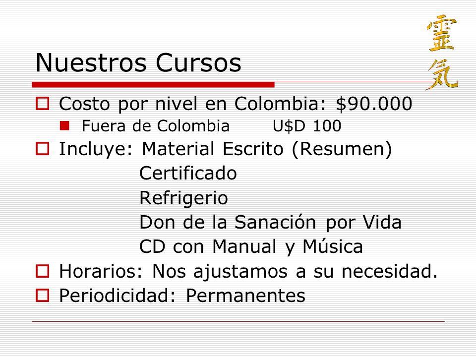 Nuestros Cursos Costo por nivel en Colombia: $90.000
