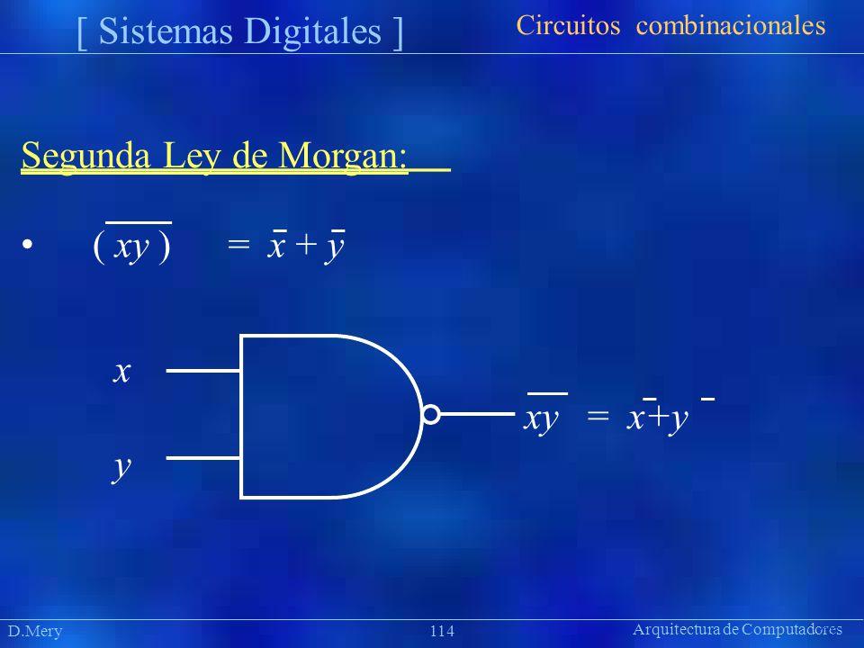 Segunda Ley de Morgan: • ( xy ) = x + y x y Circuitos combinacionales