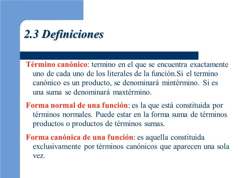 2.3 Definiciones Término canónico: termino en el que se encuentra exactamente. uno de cada uno de los literales de la función.Si el termino.
