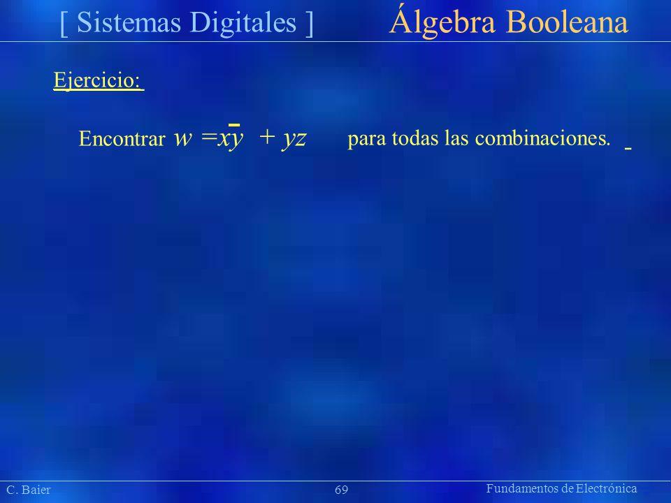 Álgebra Booleana =xy + yz Ejercicio: Encontrar w