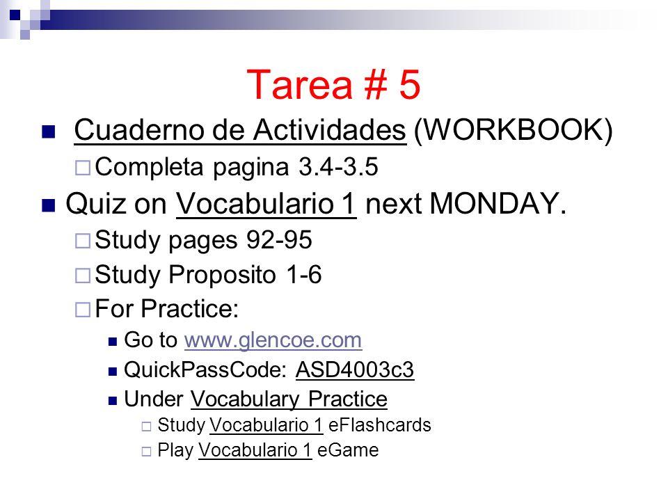Tarea # 5 Cuaderno de Actividades (WORKBOOK)