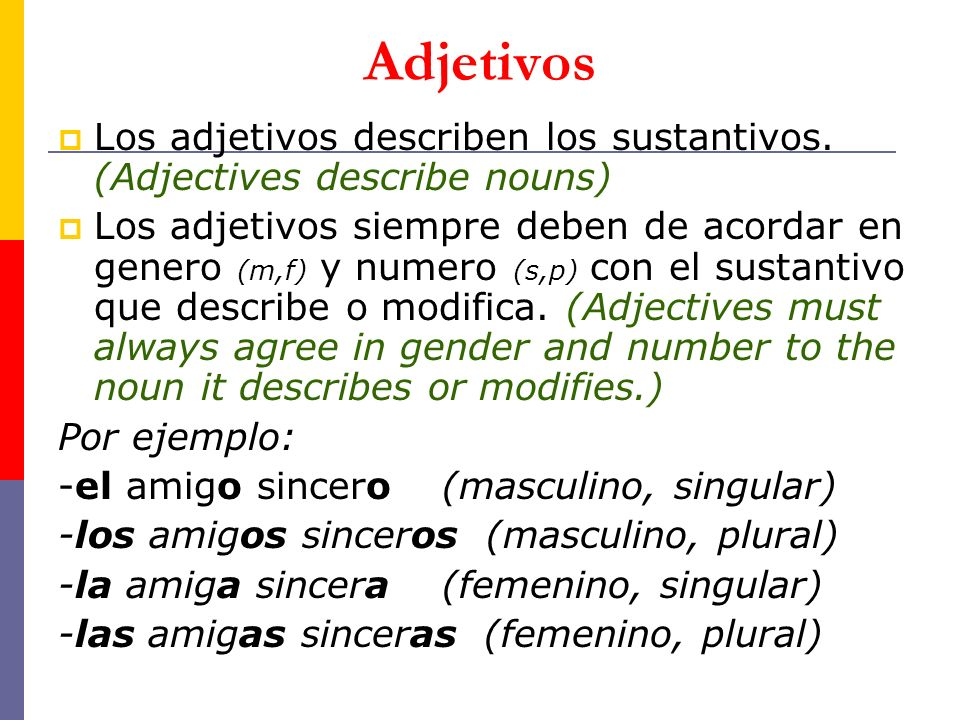 Adjetivos Los adjetivos describen los sustantivos. (Adjectives describe nouns)