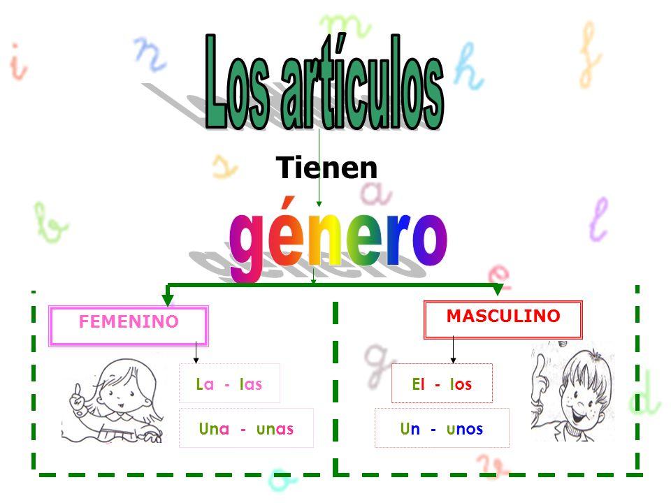 Los artículos género Tienen MASCULINO FEMENINO La - las El - los