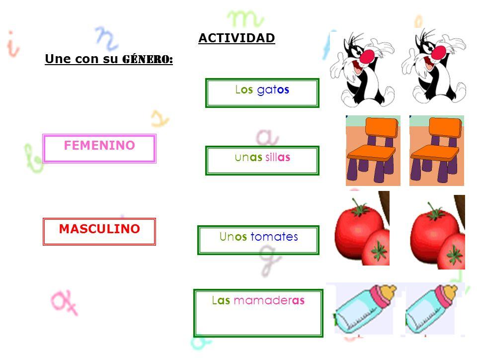 ACTIVIDAD Une con su Género: Los gatos FEMENINO unas sillas MASCULINO Unos tomates Las mamaderas