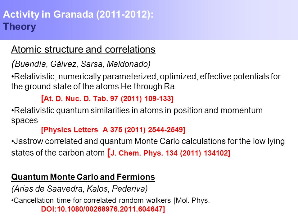 Activity in Granada (2011-2012): Theory