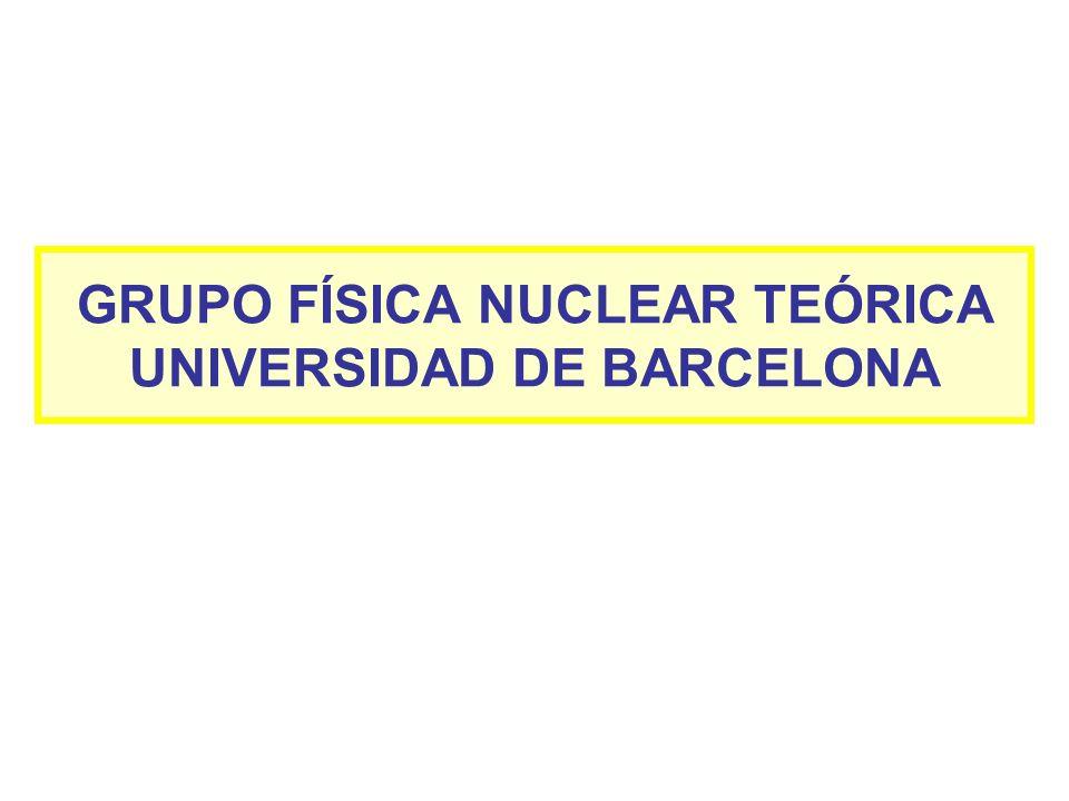 GRUPO FÍSICA NUCLEAR TEÓRICA UNIVERSIDAD DE BARCELONA