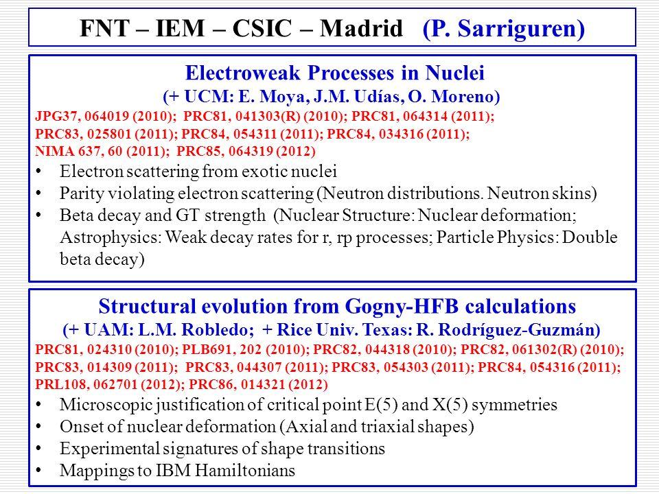 FNT – IEM – CSIC – Madrid (P. Sarriguren)
