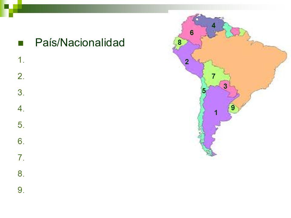 4 6 País/Nacionalidad 8 2 7 3 5 9 1
