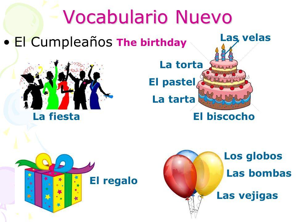 Vocabulario Nuevo El Cumpleaños Las velas The birthday La torta