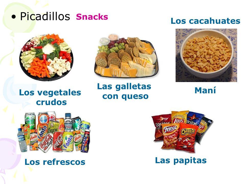 Picadillos Snacks Los cacahuates Las galletas con queso Maní