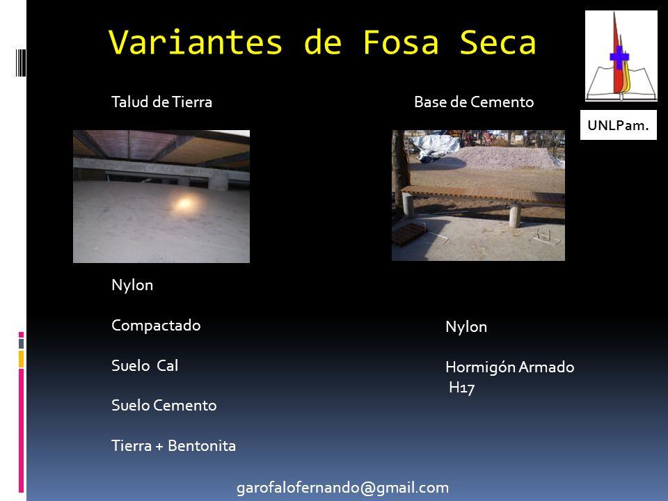 Variantes de Fosa Seca Talud de Tierra Base de Cemento Nylon