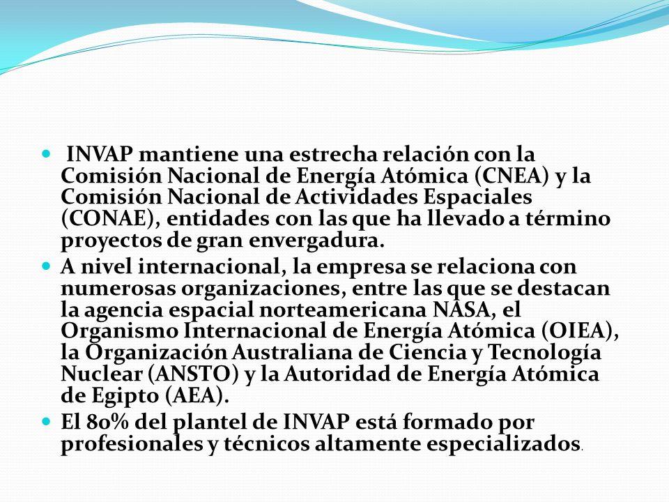 INVAP mantiene una estrecha relación con la Comisión Nacional de Energía Atómica (CNEA) y la Comisión Nacional de Actividades Espaciales (CONAE), entidades con las que ha llevado a término proyectos de gran envergadura.