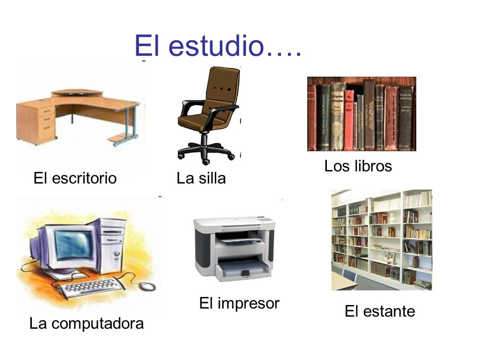 El estudio…. Los libros El escritorio La silla El impresor El estante