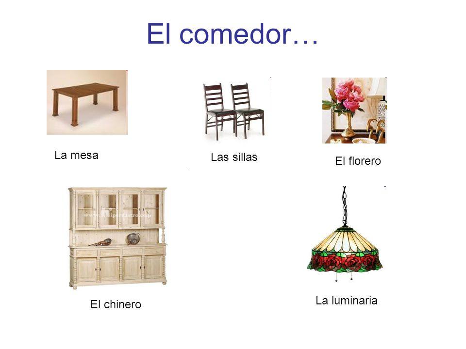 El comedor… La mesa Las sillas El florero La luminaria El chinero
