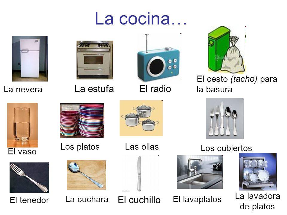 La cocina… La estufa El radio El cuchillo El cesto (tacho) para