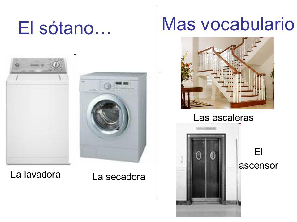 Mas vocabulario El sótano… Las escaleras El ascensor La lavadora