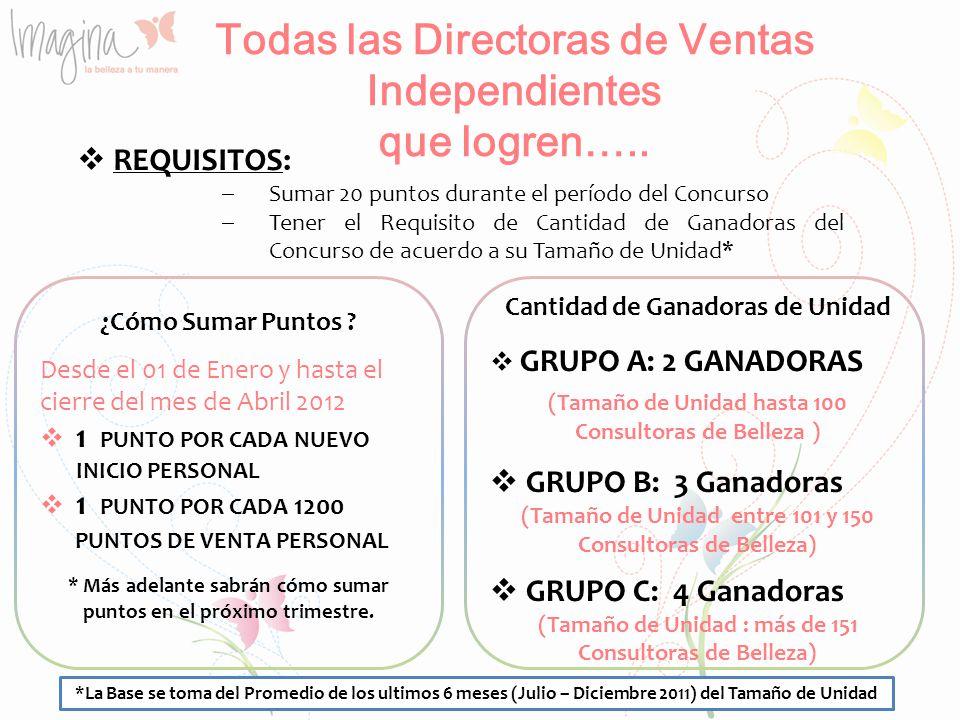 Todas las Directoras de Ventas Independientes que logren…..