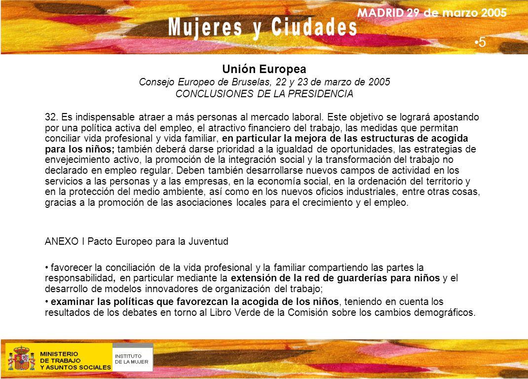5 Unión Europea Consejo Europeo de Bruselas, 22 y 23 de marzo de 2005
