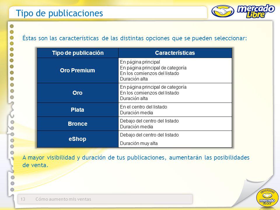 Tipo de publicaciones Éstas son las características de las distintas opciones que se pueden seleccionar: