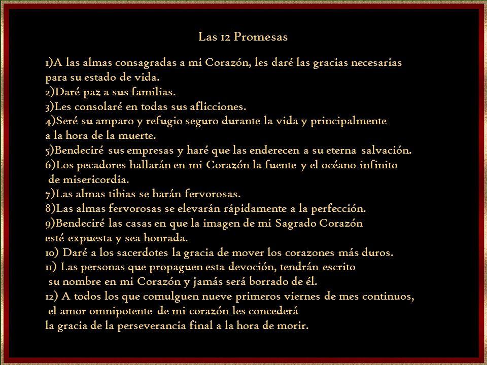 Las 12 Promesas 1)A las almas consagradas a mi Corazón, les daré las gracias necesarias. para su estado de vida.