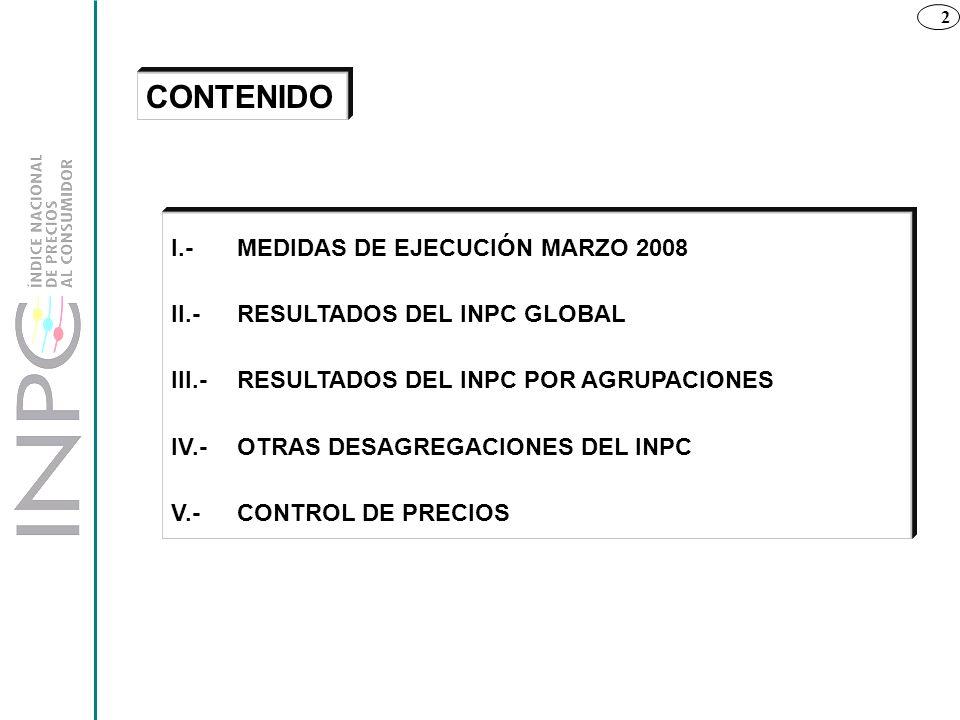 CONTENIDO I.- MEDIDAS DE EJECUCIÓN MARZO 2008