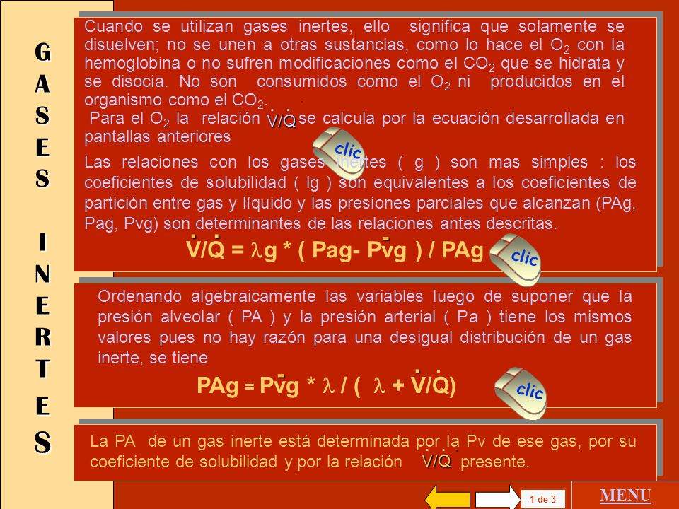 . . G A S E S I N E R T E S - V/Q = lg * ( Pag- Pvg ) / PAg -