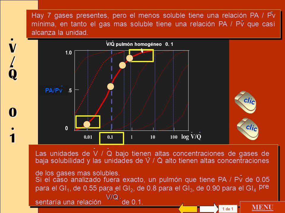 Hay 7 gases presentes, pero el menos soluble tiene una relación PA / Pv mínima, en tanto el gas mas soluble tiene una relación PA / Pv que casi alcanza la unidad.