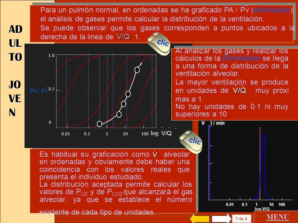 Para un pulmón normal, en ordenadas se ha graficado PA / Pv (eliminación); el análisis de gases permite calcular la distribución de la ventilación.