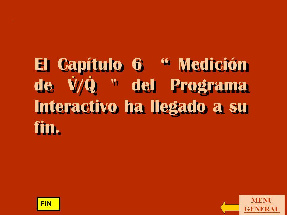 . El Capítulo 6 Medición de V/Q del Programa Interactivo ha llegado a su fin. . MENU GENERAL.