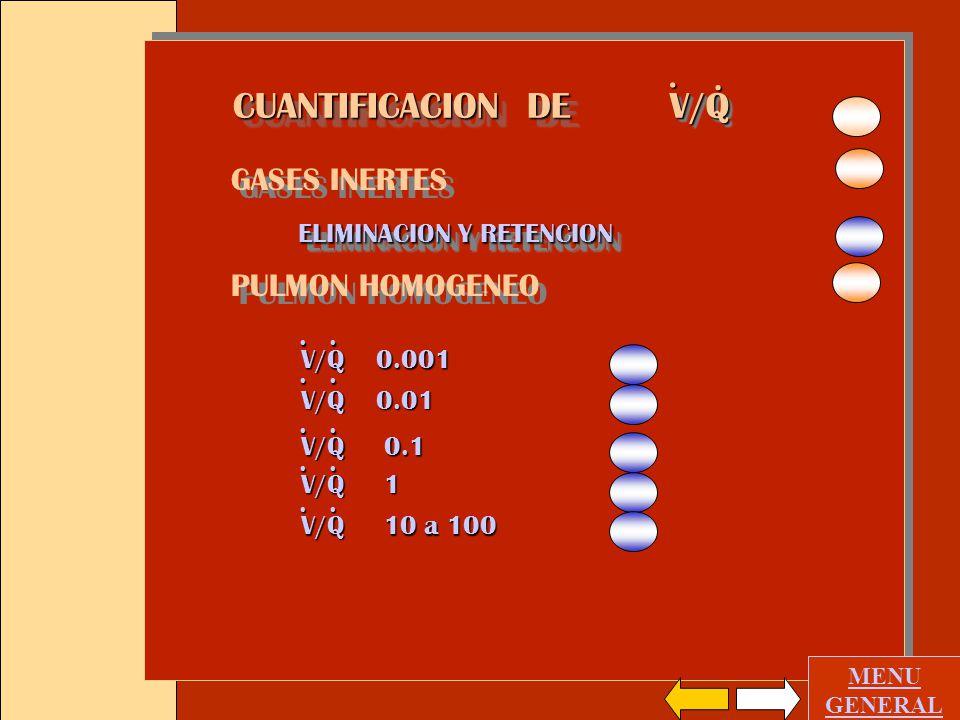 V/Q CUANTIFICACION DE . GASES INERTES PULMON HOMOGENEO